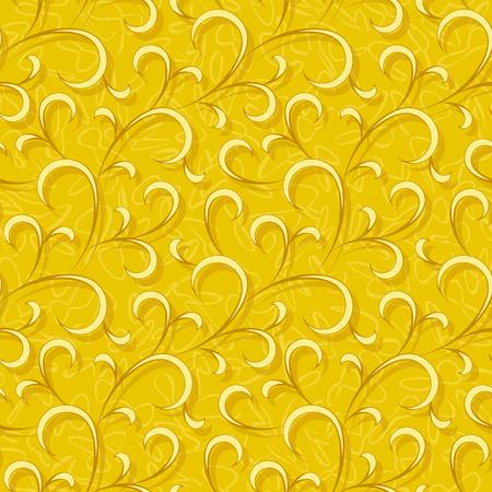 abstract yellow flourish floral swirl seamless background pattern Ilustracja