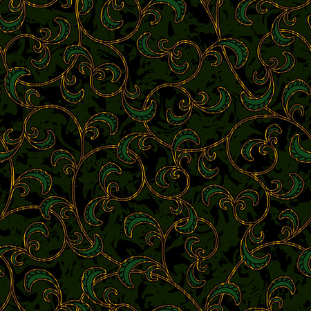 brocade: seamless floral dark green damask brocade pattern background vector