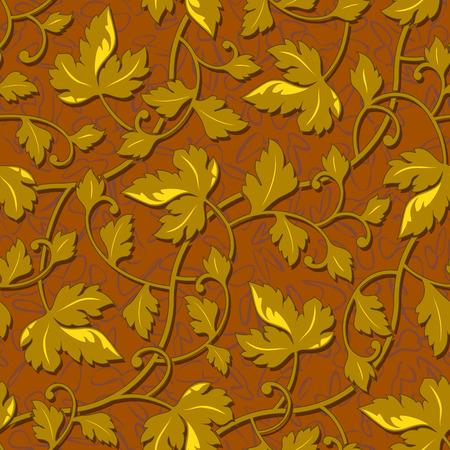 contour: vector contour autumn gold leaf seamless background