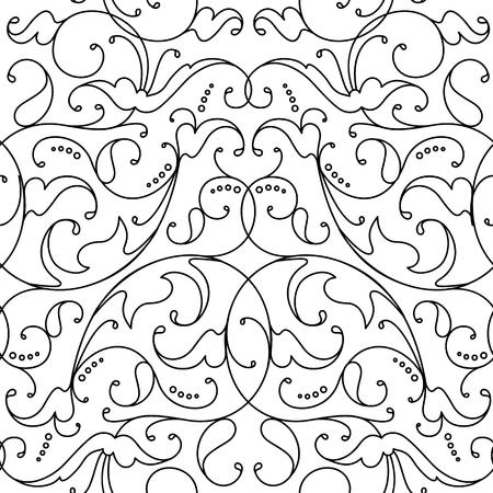 Damask seamless floral pattern black background Ilustracja