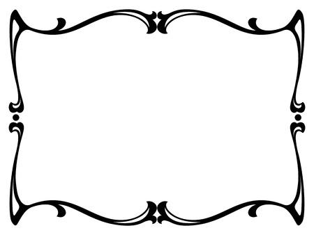 art nouveau black ornamental decorative frame