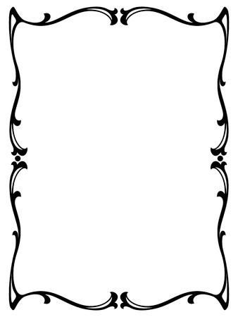 swirl: art nouveau black ornamental decorative frame