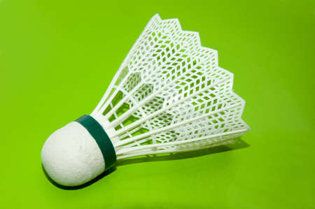 shuttlecock: white shuttlecock for playing badminton, equipment for game Stock Photo