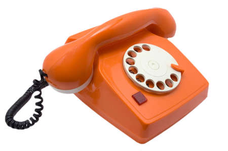 retro orange telephone for support connection photo
