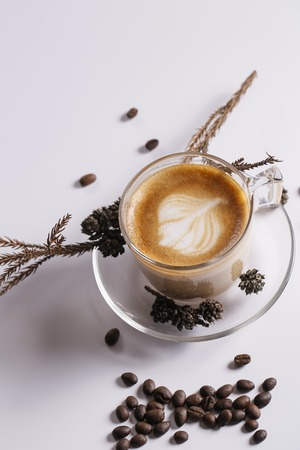 black textured background: Coffee concept for design and advertisement: Coffee cup, coffee beans, coffee break Stock Photo