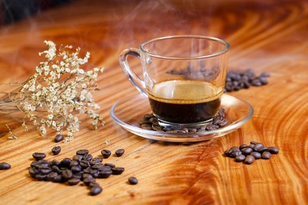 background textures: Coffee concept for design and advertisement: Coffee cup, coffee beans, coffee break Stock Photo
