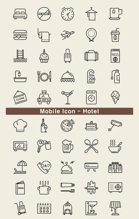 breakfast in bed: Mobile Icon - Hotel Illustration