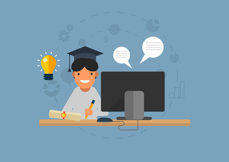 Education flat icon 矢量图像