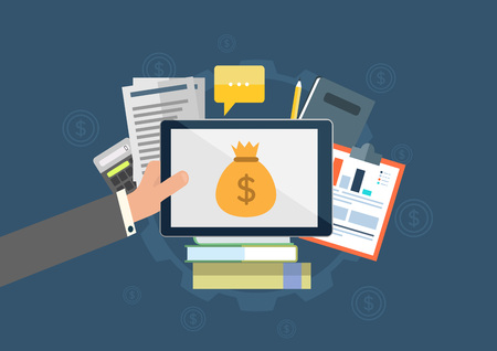 Icon, flat icon, flat design, flat, business, finance bank, bank, mobile banking, money, currency, foreign currency, stock, securities, tech tech, smart phone, hand touch, purse, bankroll, document