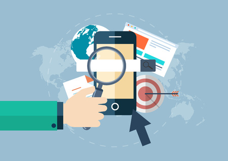 Illustration of business, smart phone, mobile phone, corporate, hand, magnifying glass, world map, map, arrow, and search in flat design Illustration
