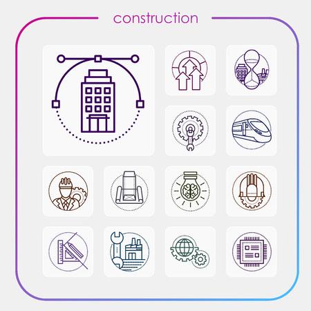 construction, erection, building, vision, industry, construction icon, erection icon, line icon, illustration Ilustracja