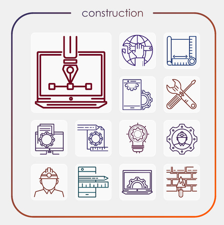 construction, erection, building, vision, industry, construction icon, erection icon, line icon, illustration Vettoriali
