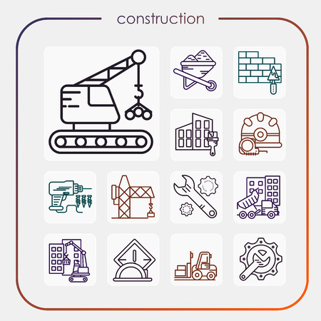 construction, erection, building, vision, industry, construction icon, erection icon, line icon, illustration Stock Illustratie