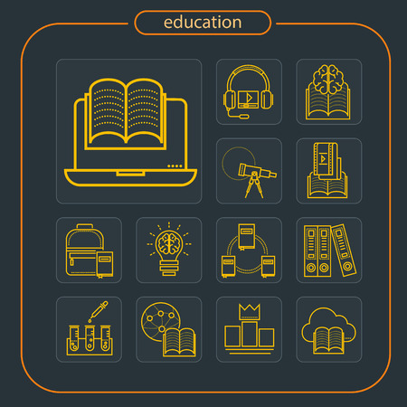 education, studying, school, student, education icon, icon, line icon, Illustration Imagens - 108413203