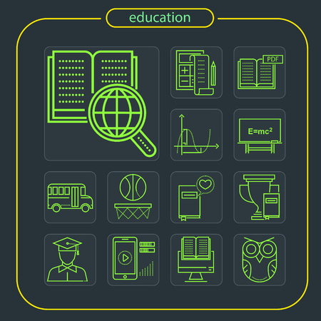 education, studying, school, student, education icon, icon, line icon, Illustration Imagens - 108413212