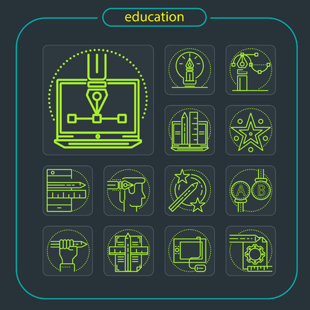 education, studying, school, student, education icon, icon, line icon, Illustration Imagens - 108362878