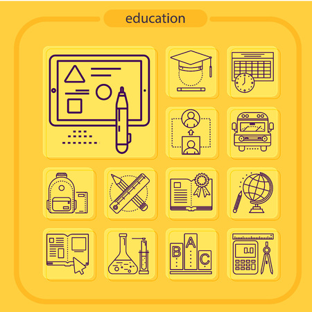 education, studying, school, student, education icon, icon, line icon, Illustration Vettoriali