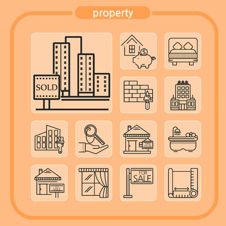 Immobilier, entreprise, icône de l'immobilier, maison, bâtiment, icône de la ligne, Illustration, icône