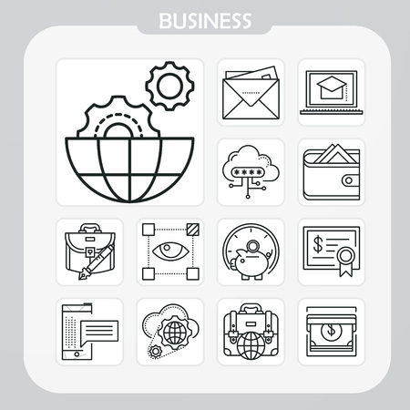 business, company, corporate, global, document, business icon, line icon, illustration