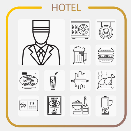 hotel, accommodation, travel, line icon, illustration