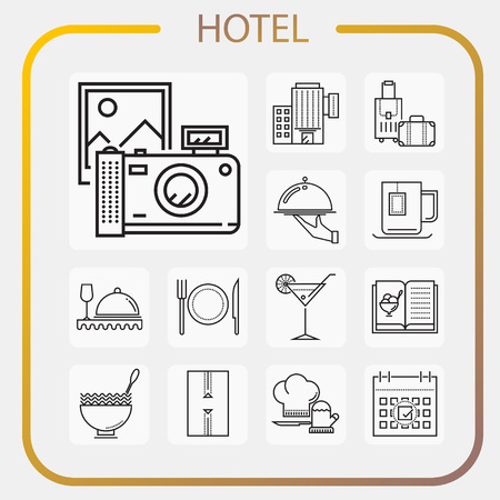 hotel, accommodation, travel, line icon, illustration Vectores