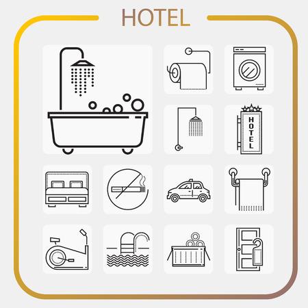 hotel, accommodation, travel, line icon, illustration Illustration