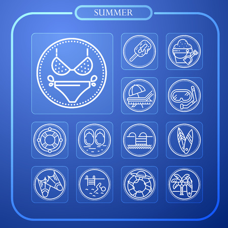 summer, sun, travel, vacation, line icon, illustration