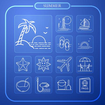 summer, sun, travel, vacation, line icon, illustration