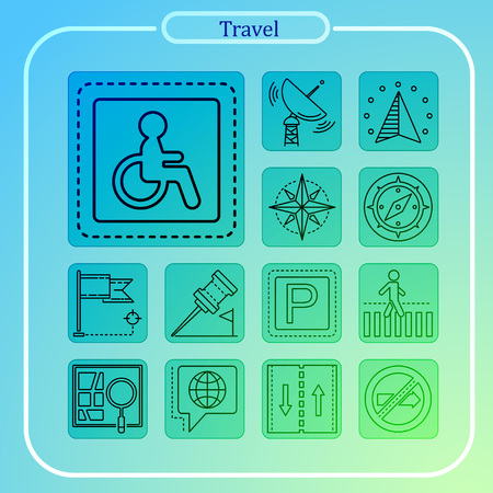 travel, vacation, mobile reservation, line icon, illustration