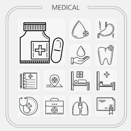 medical, hospital, medicine, doctor, nurse, mobile icon, line icon, illustration
