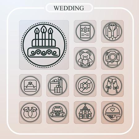 wedding, marriage, love, line icon, illustration