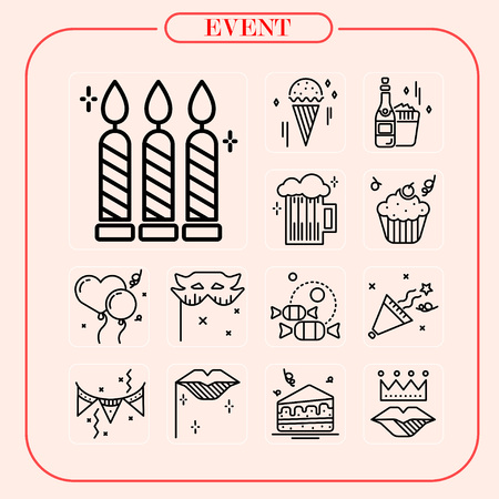 event, sale, celebration, festival, event icon, mobile icon, line icon, illustration Иллюстрация