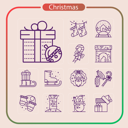 christmas, holiday, event, party, line icon, mobile icon, illustration