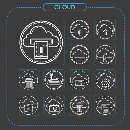cloud, data, network, AI, 4th industry, intelligence, technology, software, Internet, icon, illustration