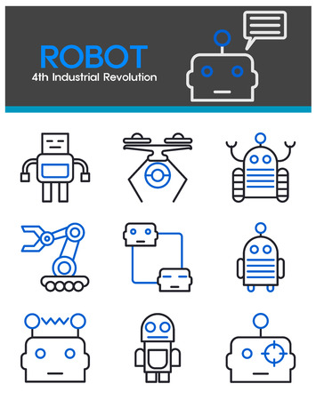 robot, 4th Industrial Revolution, artificial intelligence, machine, multimedia, technology, icon, line icon, illustration