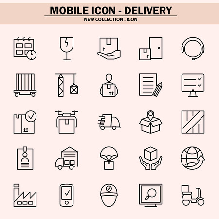 delivery, mobile icon, line icon, illustration Standard-Bild - 109143618
