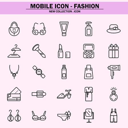 Mode, Trend, Konzept, Stil, einfache Bezahlung, Home-Shopping, Schönheit, Handy-Symbol, Linien-Symbol, Illustration