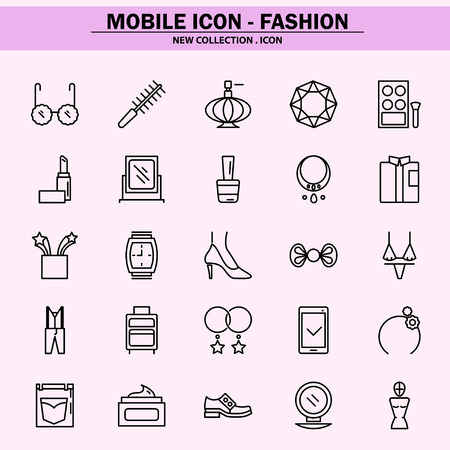 fashion, trend, concept, style, easy payment, home shopping, beauty, mobile icon, line icon, illustration Ilustração