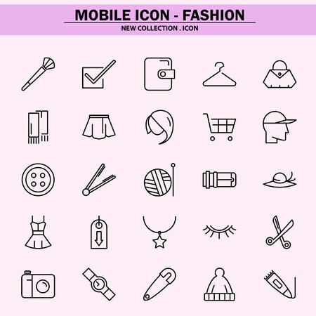 mode, trend, concept, stijl, gemakkelijke betaling, thuiswinkelen, schoonheid, mobiel pictogram, lijnpictogram, illustratie