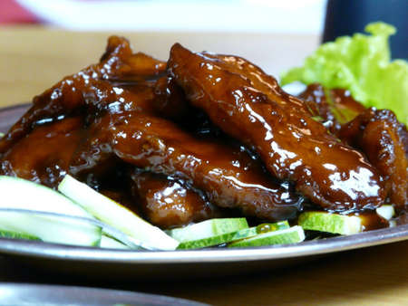 Pork ribs with Chinese barbecue sauce
