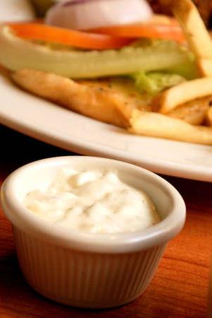 A small bowl of mayonaise
