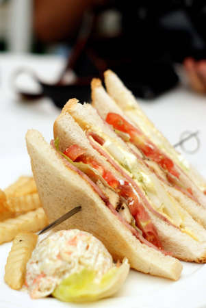 Big healthy sandwich with vegetables, fries and meat Stock Photo