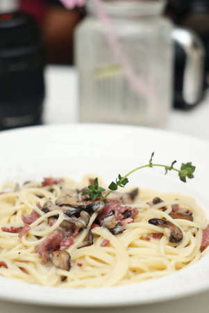 Yummy delicious carbonara Stock Photo