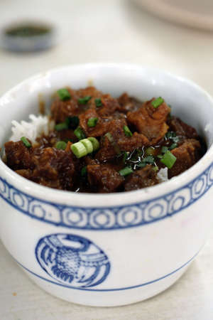 Chinese steamed rice with meat dish