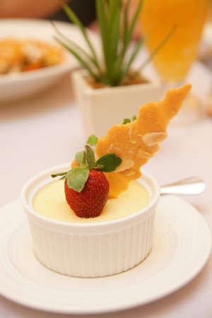 Dessert - Orange Cheesecake and Fresh Strawberry Stock Photo - 8139919
