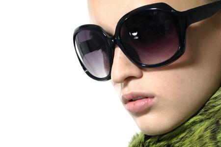 Fashion model wearing the big modern sunglasses.