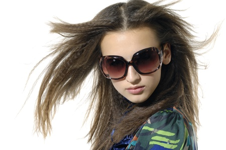 young model wearing the big sunglasses. Stock Photo