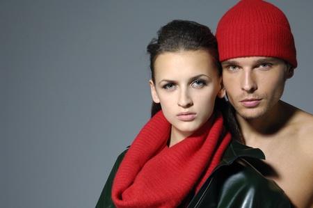 Sexy couple model on gray Stock Photo