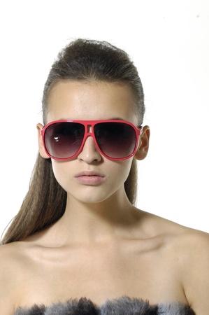Sexy model wearing the big sunglasses.