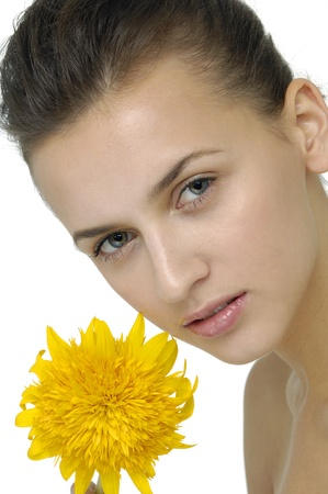 Beauty with sunflower Stock Photo